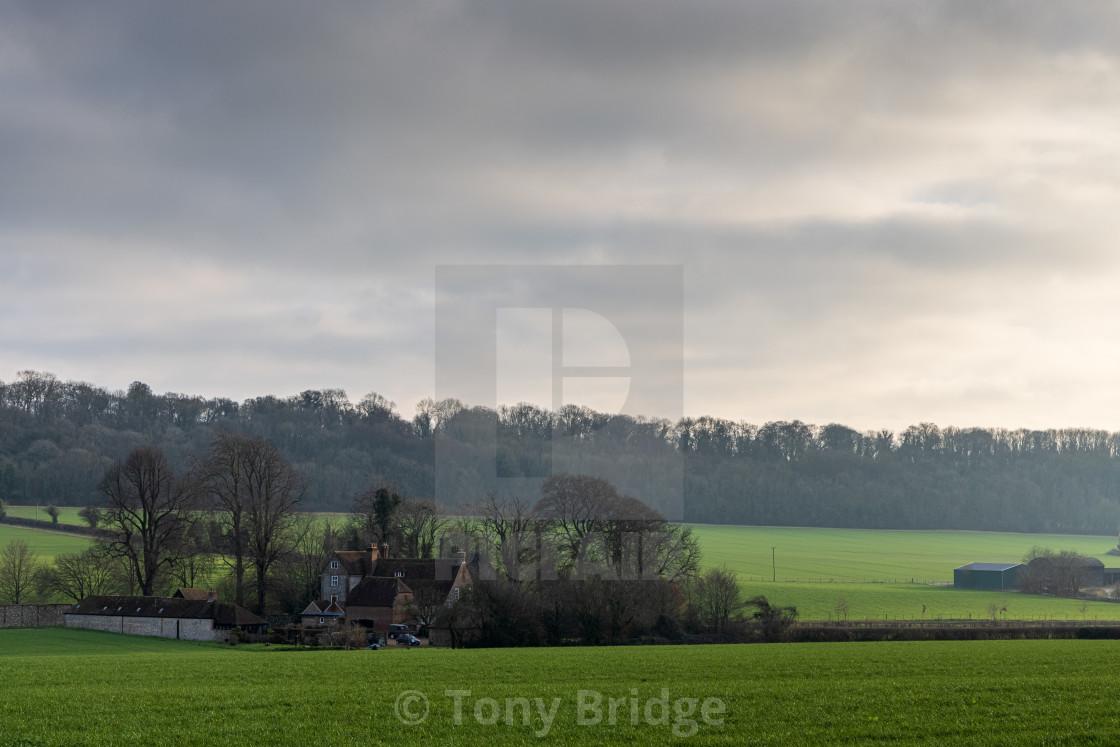 """""""Hampshire farm in Winter light"""" stock image"""