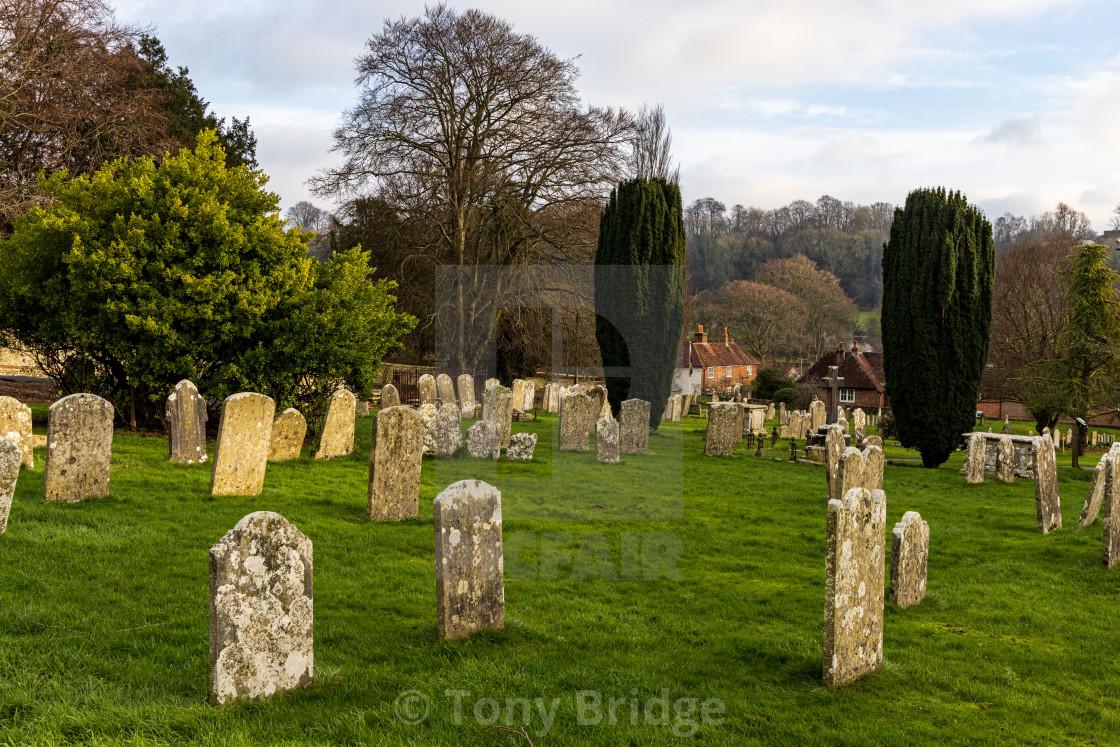 """Hambledon churchyard"" stock image"