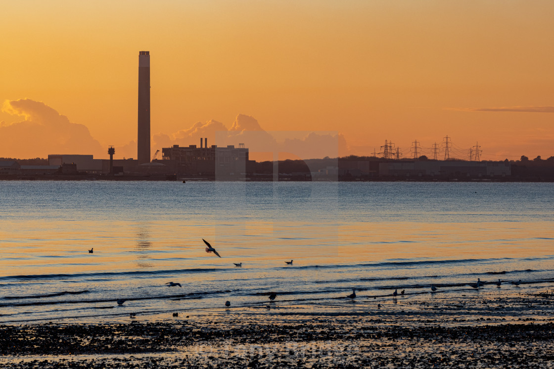 """""""Sunset behind the Fawley Power Station"""" stock image"""