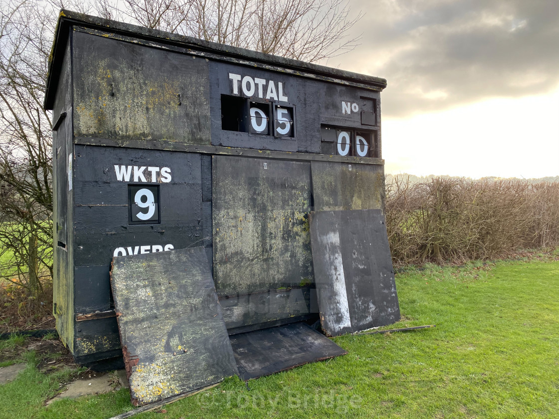 """Old cricket scoreboard"" stock image"