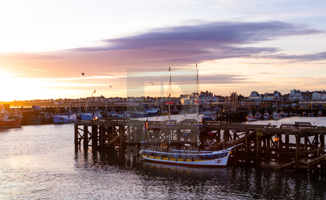 """Bridlington Harbour sunset"" stock image"