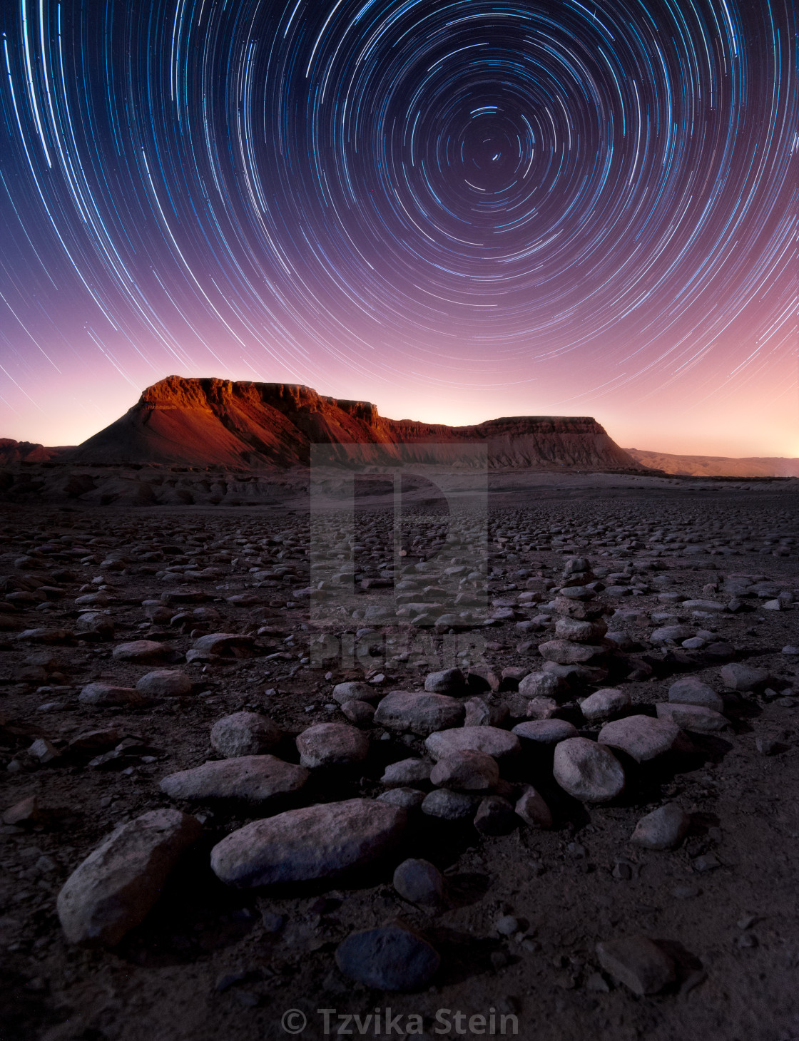 """""""Star Trails of Mount Zin"""" stock image"""