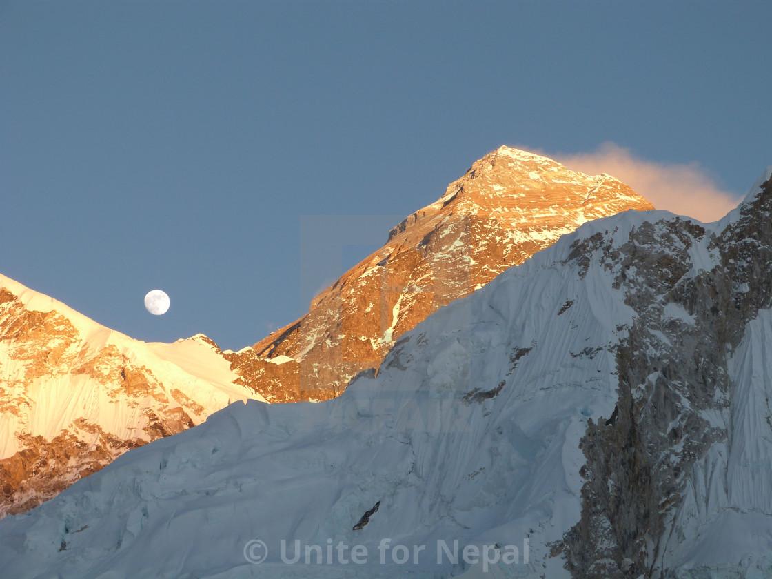 """""""Sunset & Moonrise on Mount Everest"""" stock image"""