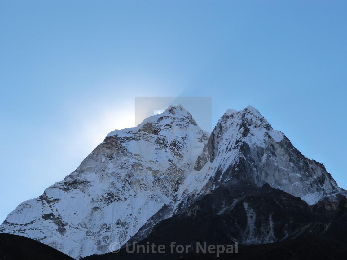 """Sunrise on Ama Dablam"" stock image"