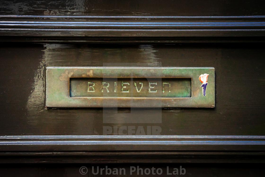 """Brass horizontal letterbox"" stock image"