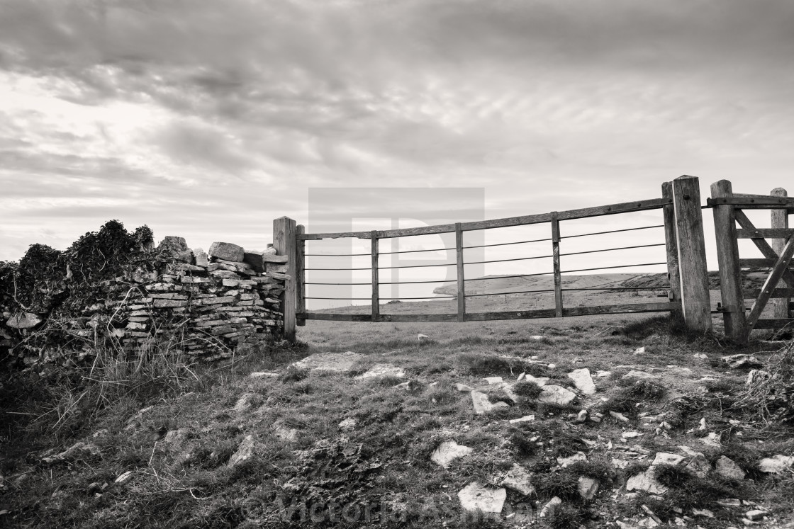 """""""Gateway overlooking countryside at dancing ledge, Dorset"""" stock image"""