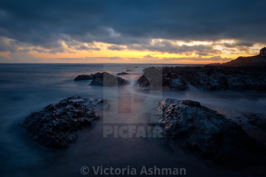 """Moody seascape, Croyde, North Devon"" stock image"