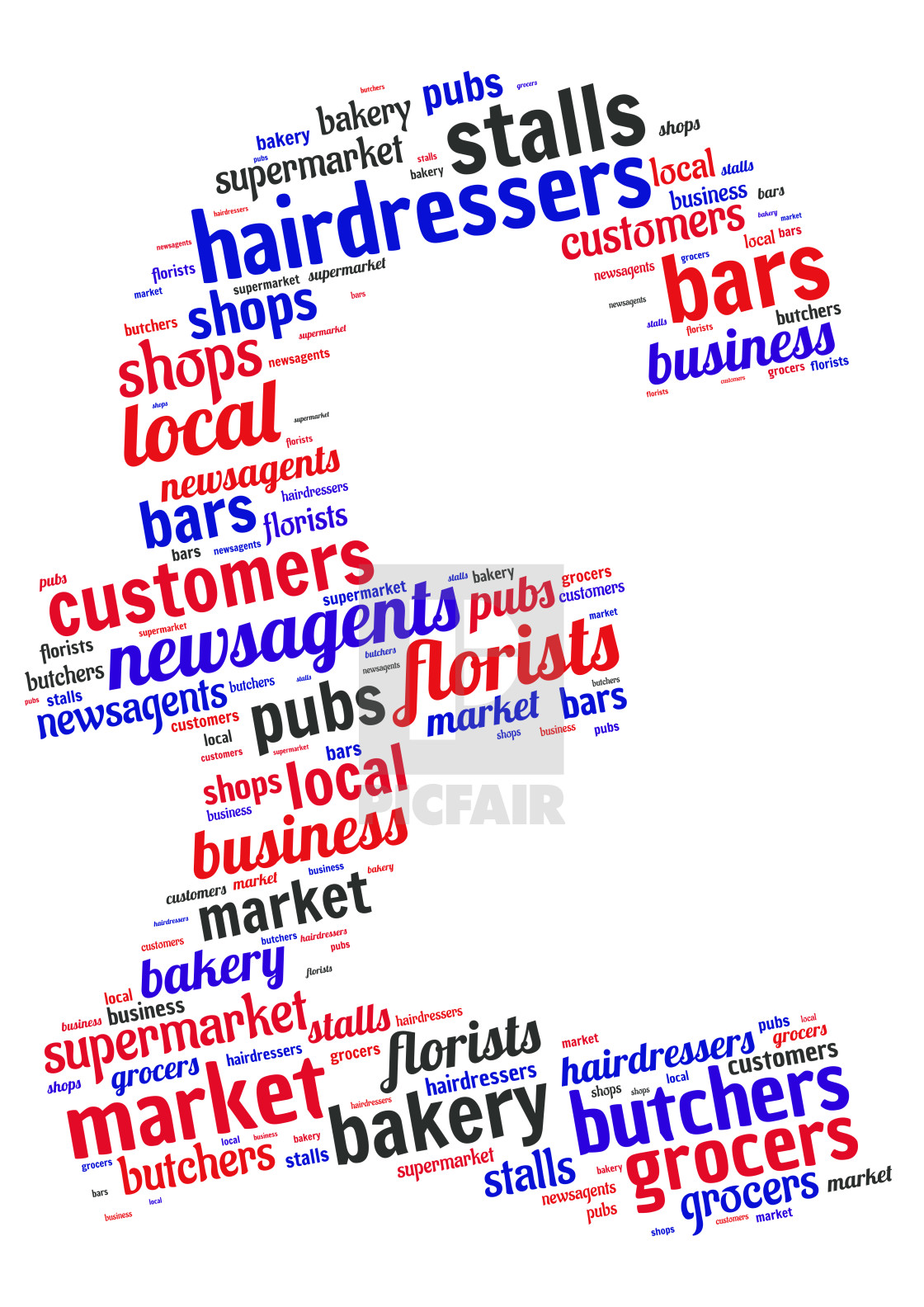 """Illustration of a word cloud representing high street shops"" stock image"