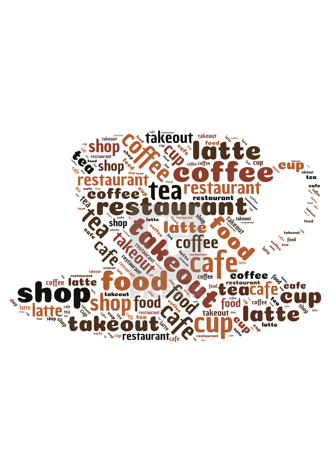 """Word cloud representing coffee shops"" stock image"