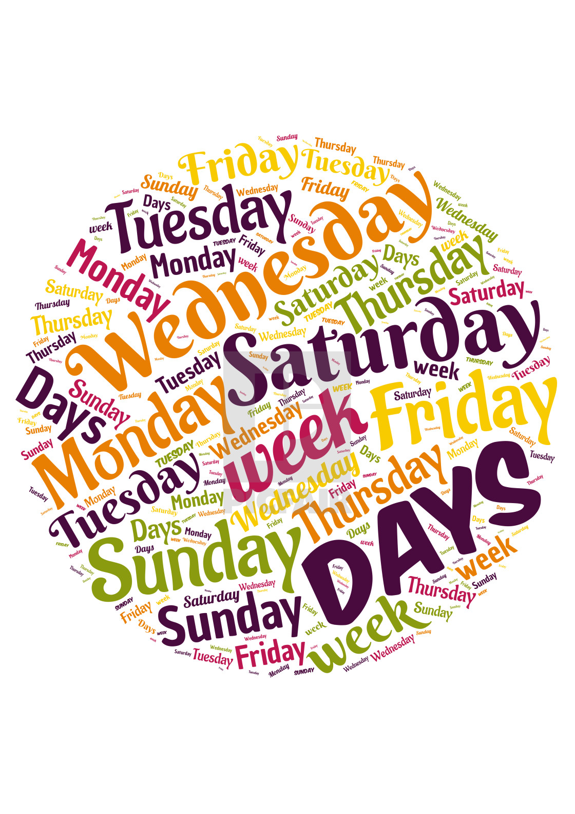 """Illustration of a word cloud representing days of the week"" stock image"