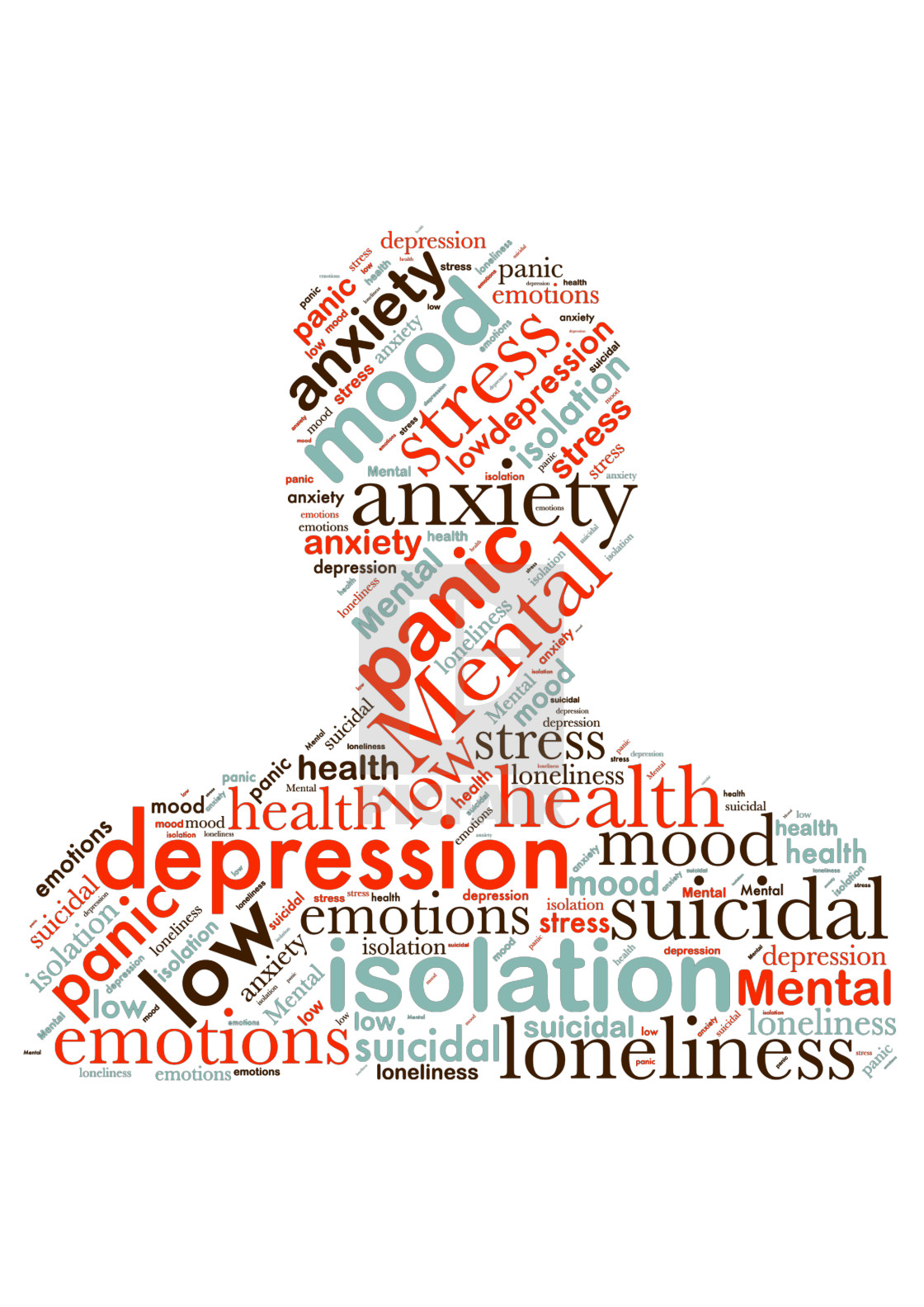 """Illustration of a word cloud with words representing mental heal"" stock image"