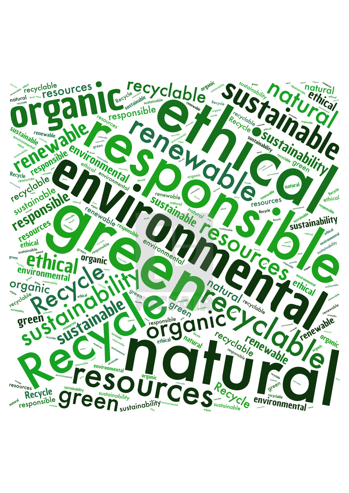"""Illustration of a word cloud with words representing the environ"" stock image"