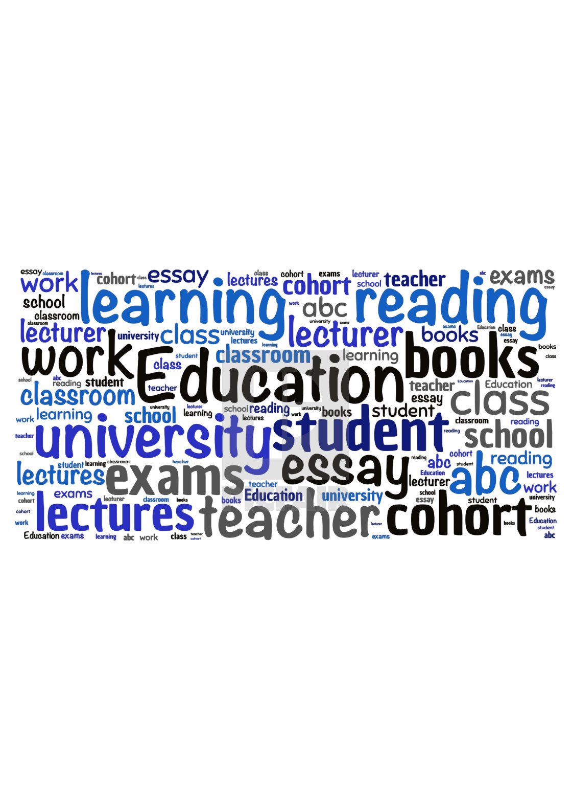 """Illustration of a word cloud with words representing education"" stock image"