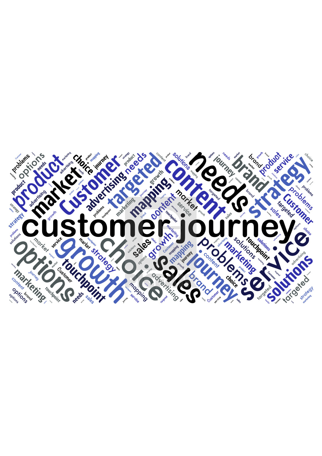 """Illustration of a word cloud with words representing customer jo"" stock image"