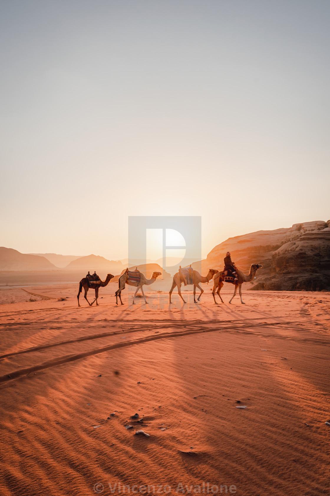"""Sunrise in the Wadi Rum desert"" stock image"
