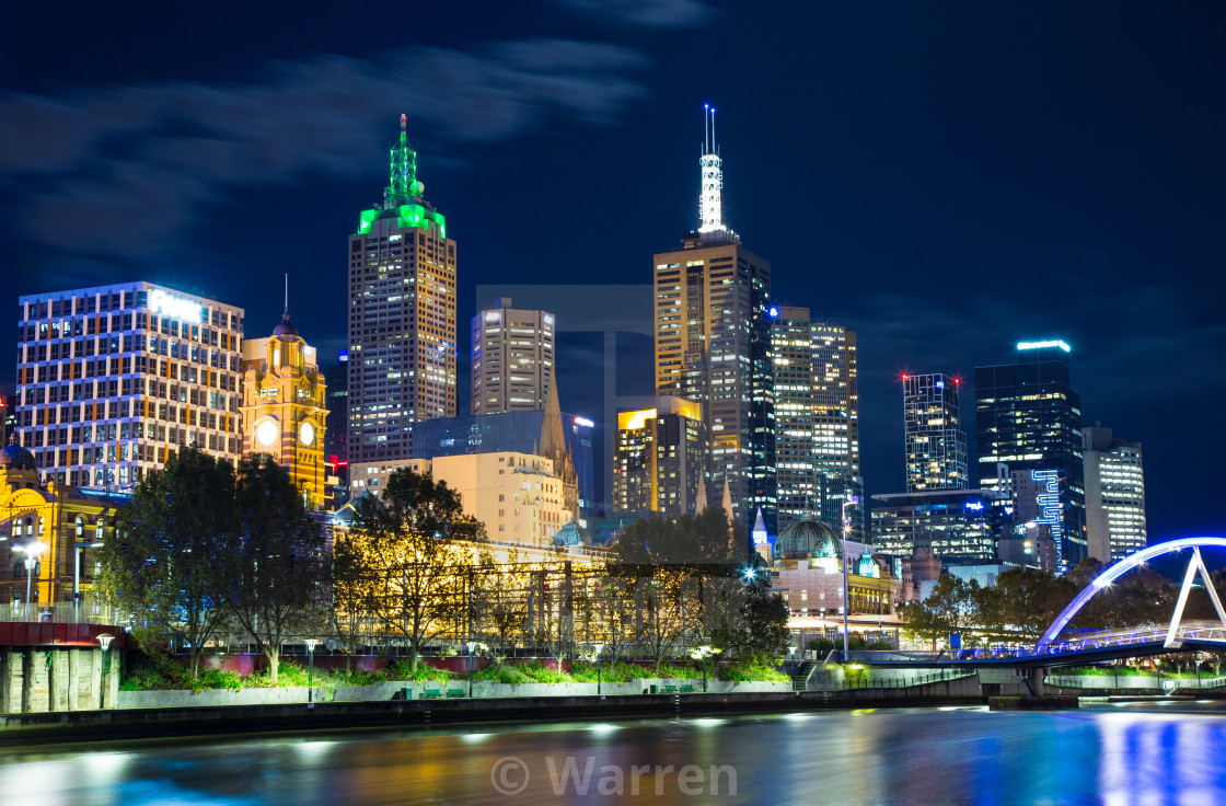 """""""A night in Melbourne"""" stock image"""