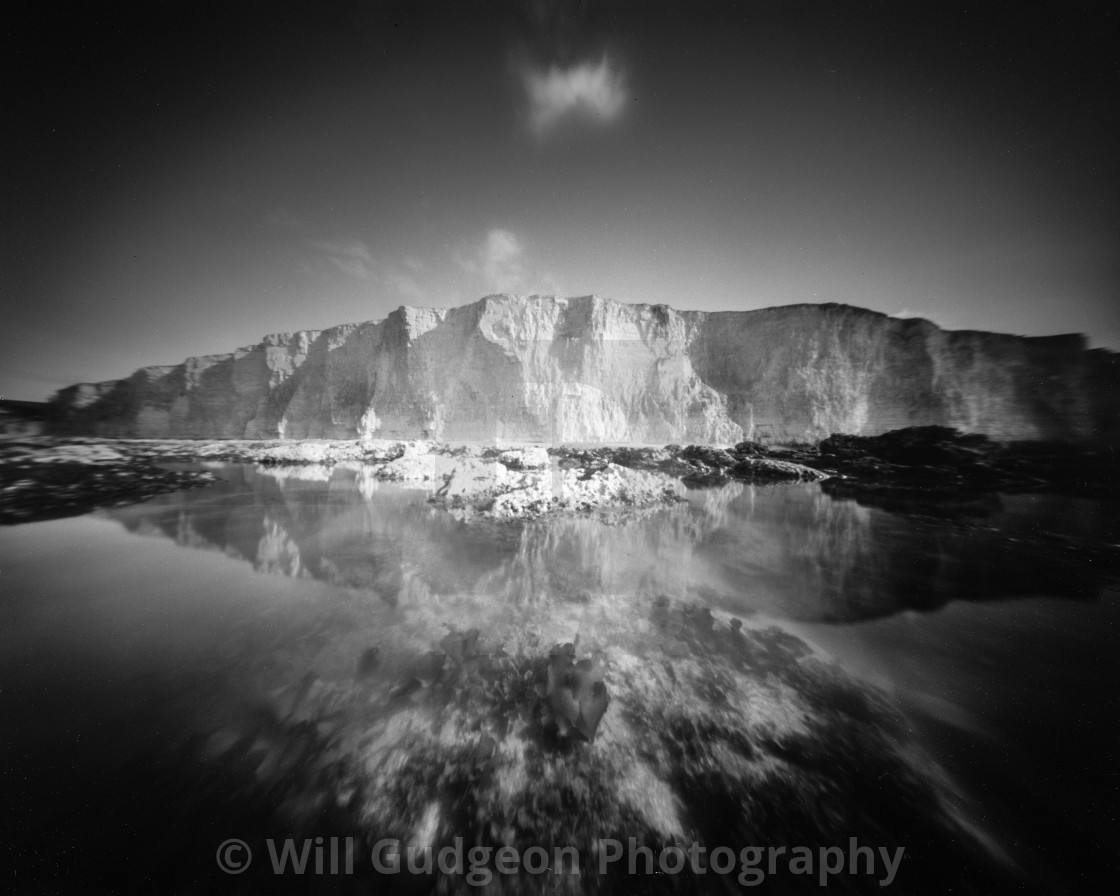 """""""White cliffs and rock pools - Pinhole photo."""" stock image"""