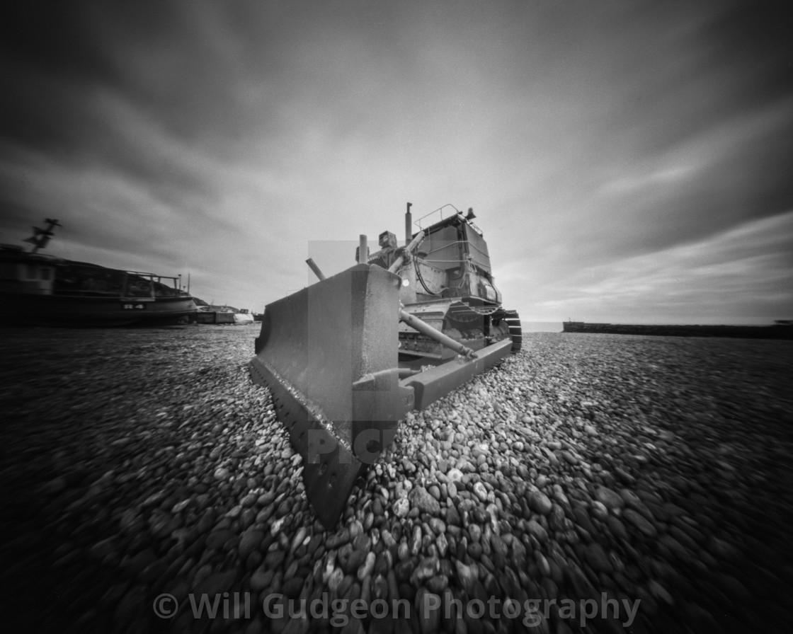 """Beach digger - Pinhole photo"" stock image"