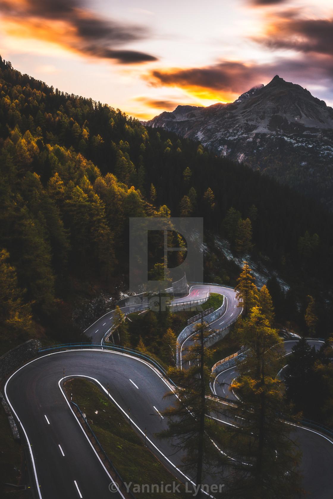 """Maloja Pass at Sunset"" stock image"