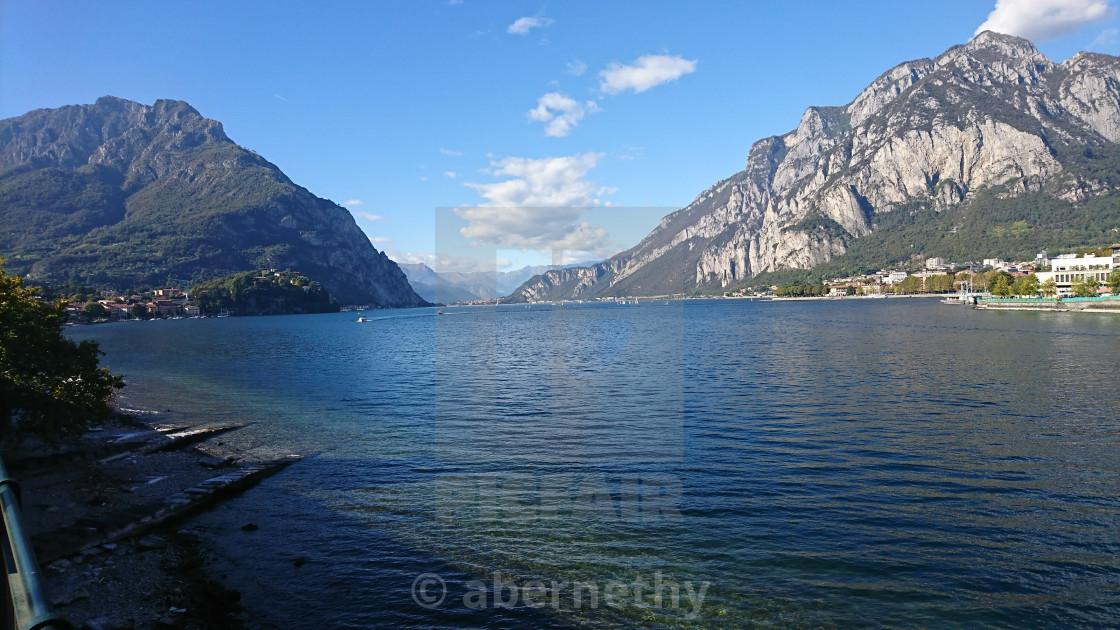 """""""Lecco Lake Como at Adda River"""" stock image"""