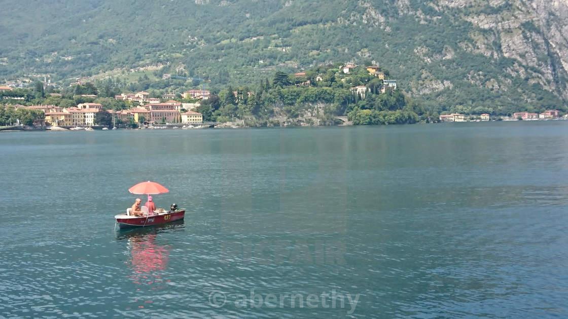 """Boat on lake Como"" stock image"