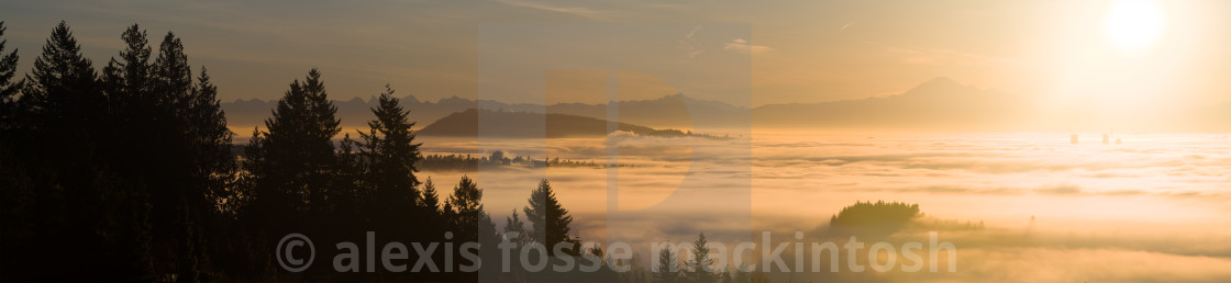 """Vancouver sunise above the clouds"" stock image"
