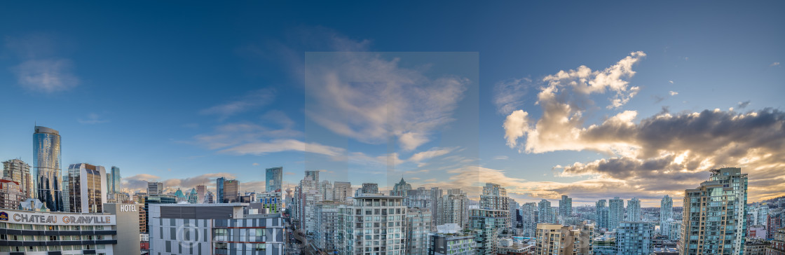 """Vancouver, Yaletown panorama. Morning clouds"" stock image"