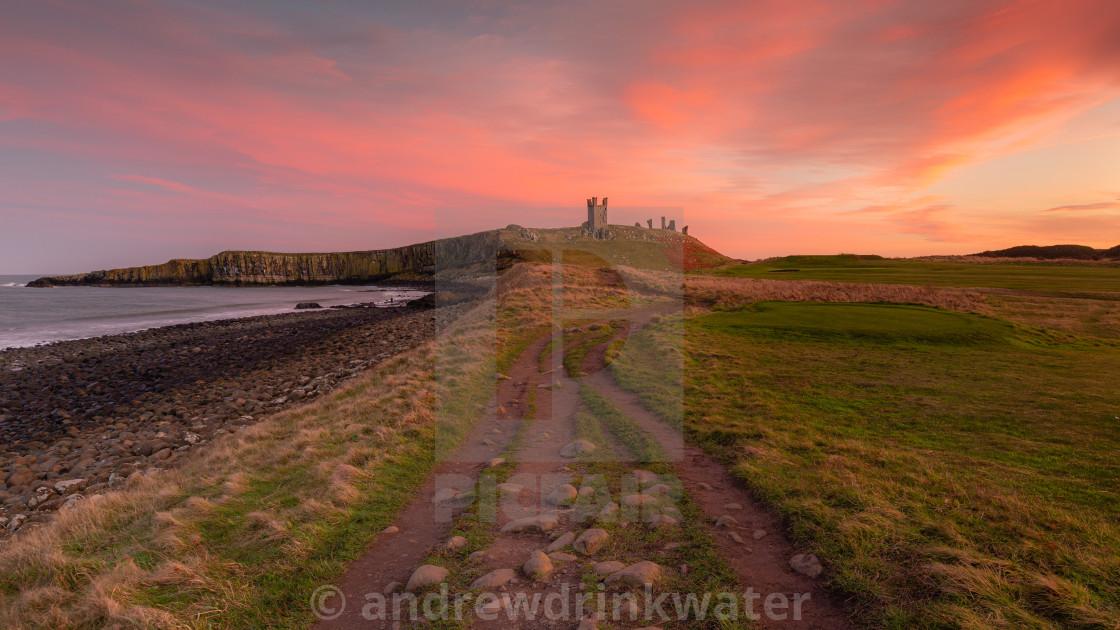 """Dunstanburgh Sunset"" stock image"
