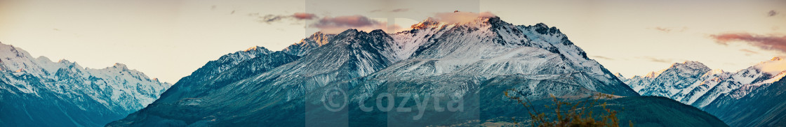 """Sunset on the Summit of Mt. Cook and La Perouse in New Zealand"" stock image"