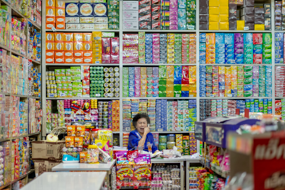 """""""House of buiscuits, Chinatown Bangkok, Thailand."""" stock image"""