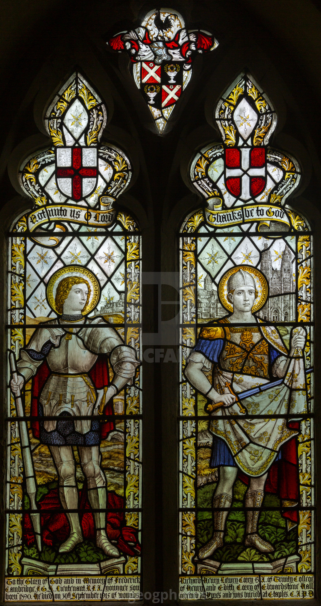 """""""Stained glass window of Saint George and Saint Martin, Edwardstone church,..."""" stock image"""