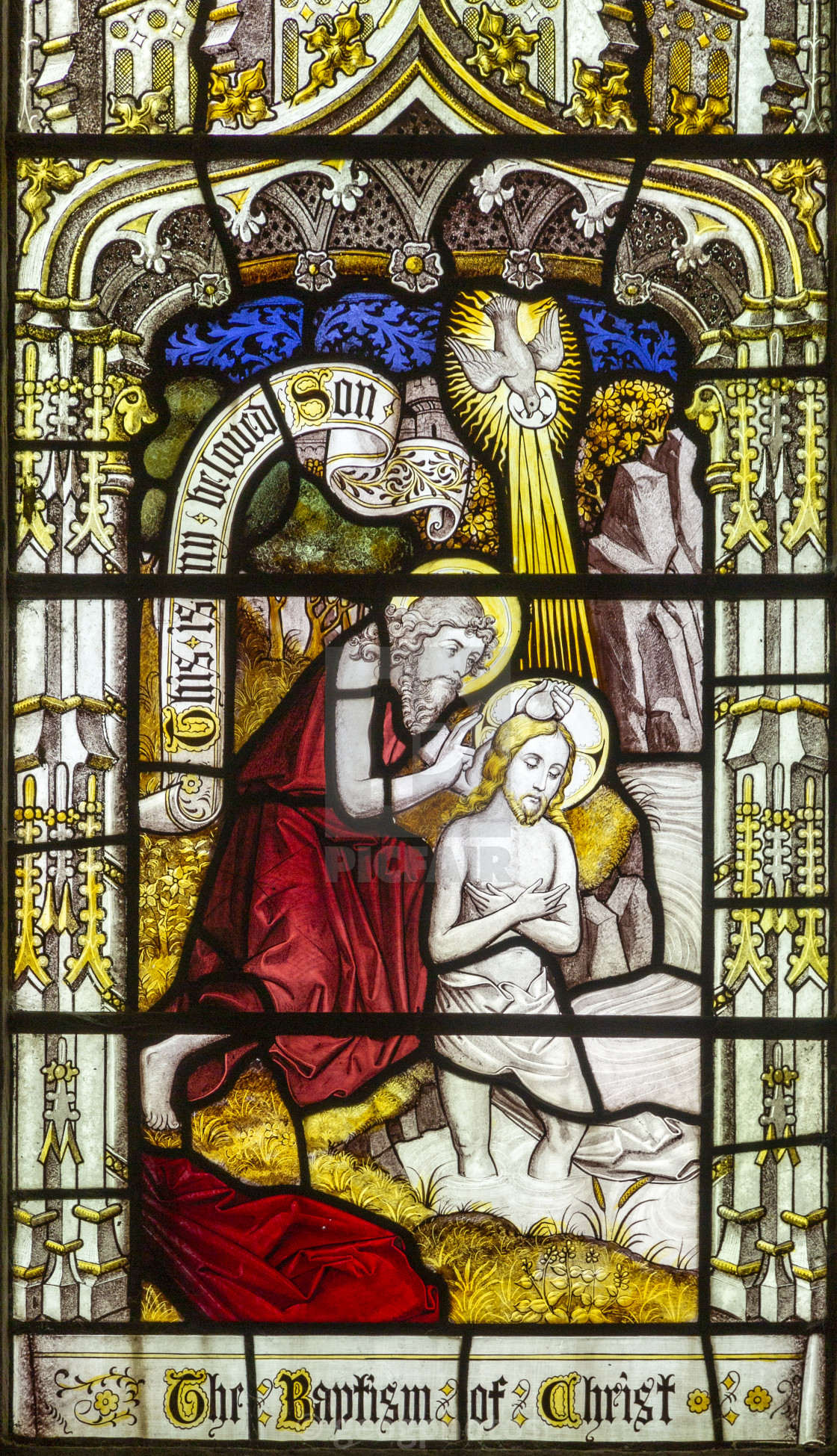 """""""Detail of stained glass window depicting baptism of Christ,, Edwardstone..."""" stock image"""