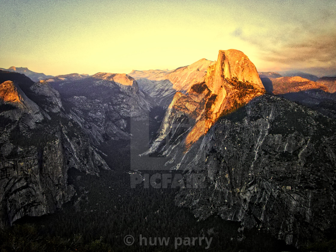 """""""Half Dome at Sunset"""" stock image"""