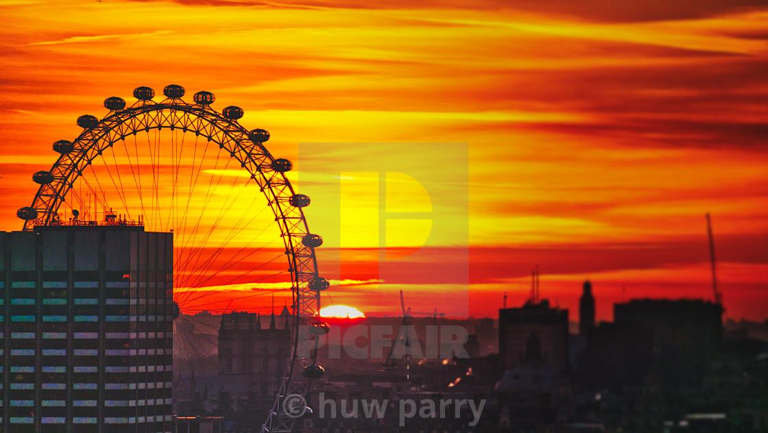 """London Eye Sunset"" stock image"