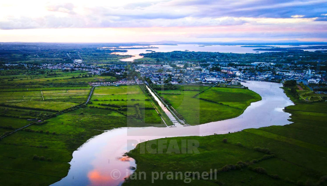 """""""Athlone the Shannon River and Lough Ree"""" stock image"""