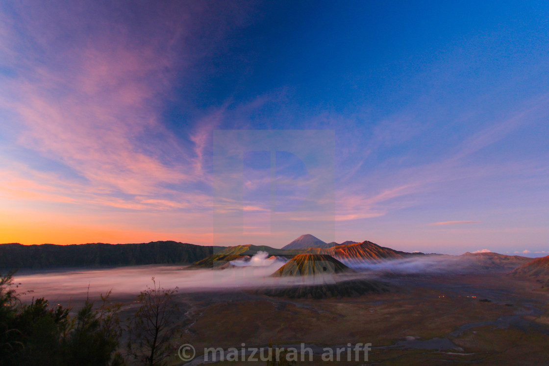 """mount bromo at dawn with fog"" stock image"
