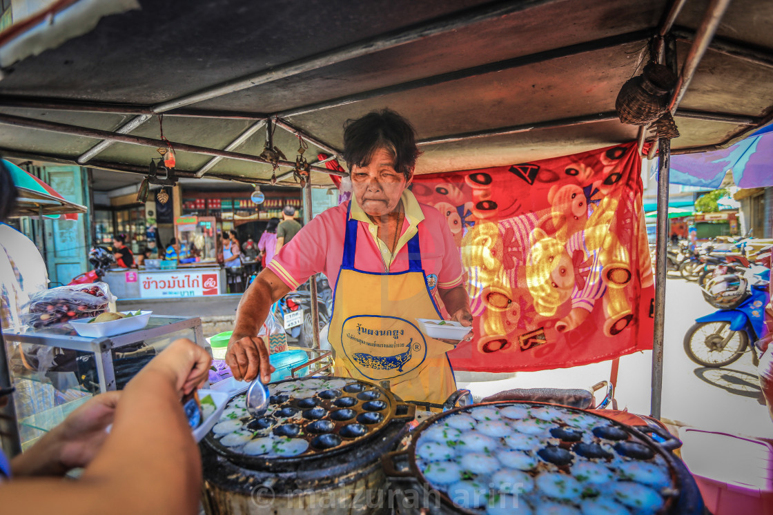 """Local scene at floating market and street vendors in Bangkok"" stock image"