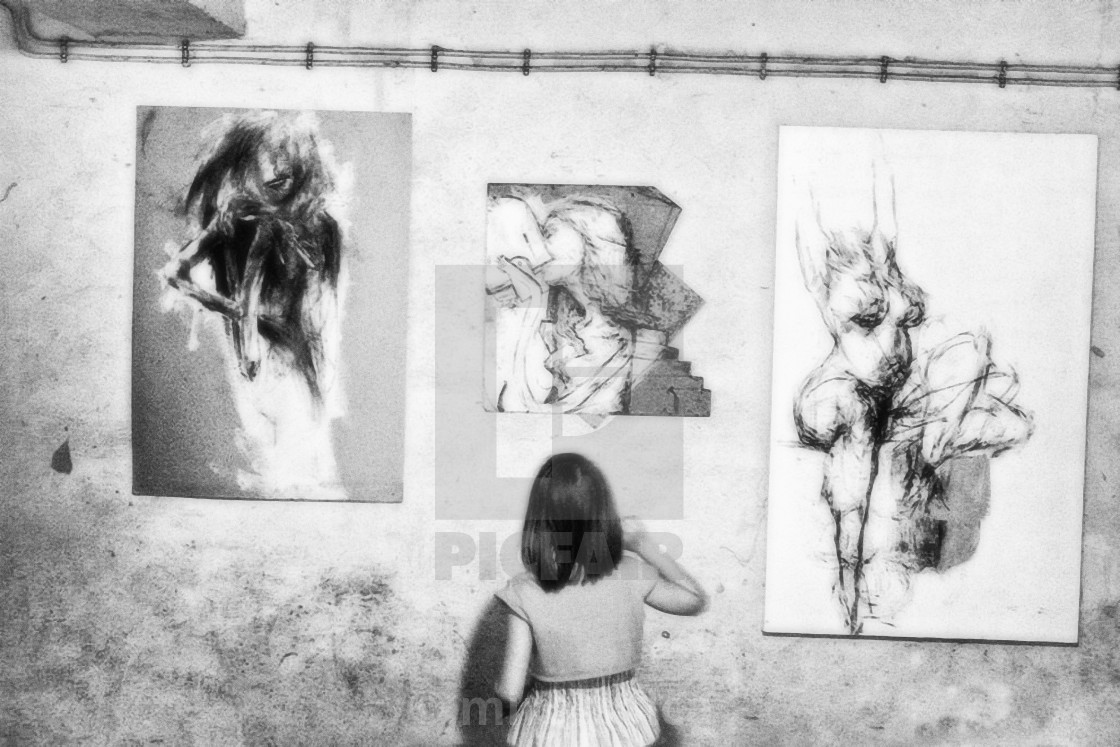 """""""exhibition paintings girl"""" stock image"""
