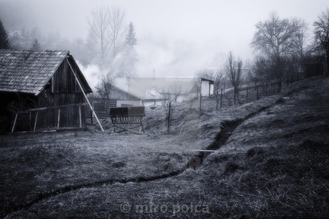 """""""smoky village"""" stock image"""