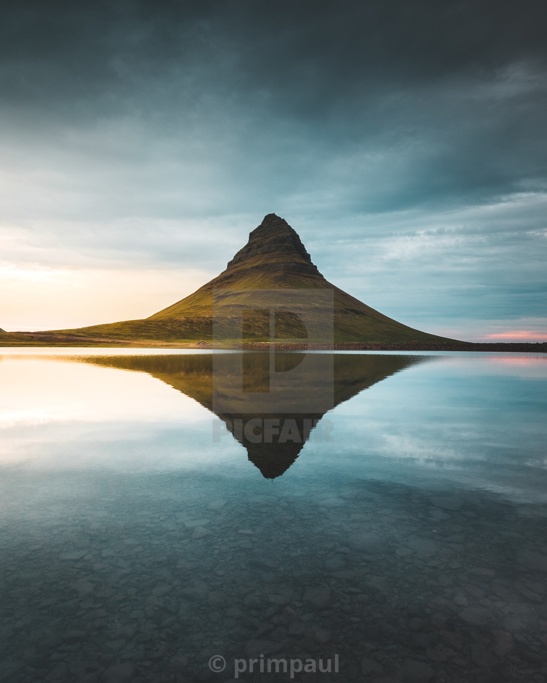 """Kirkjufell reflection"" stock image"