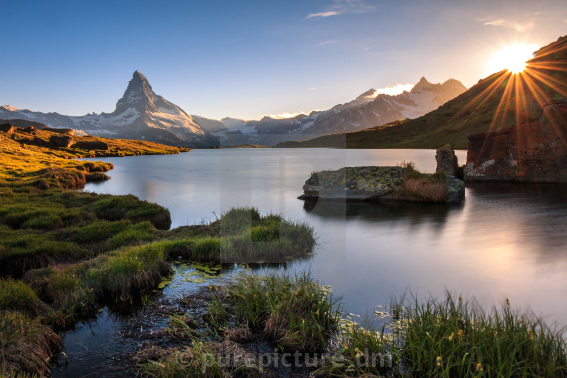 """Matterhorn Sunset at Stellisee"" stock image"
