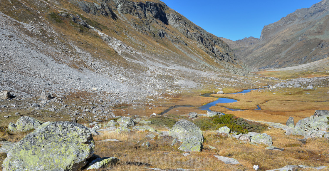 """""""little river crossing alpine mountain in yellow grass and stone under blue sky"""" stock image"""