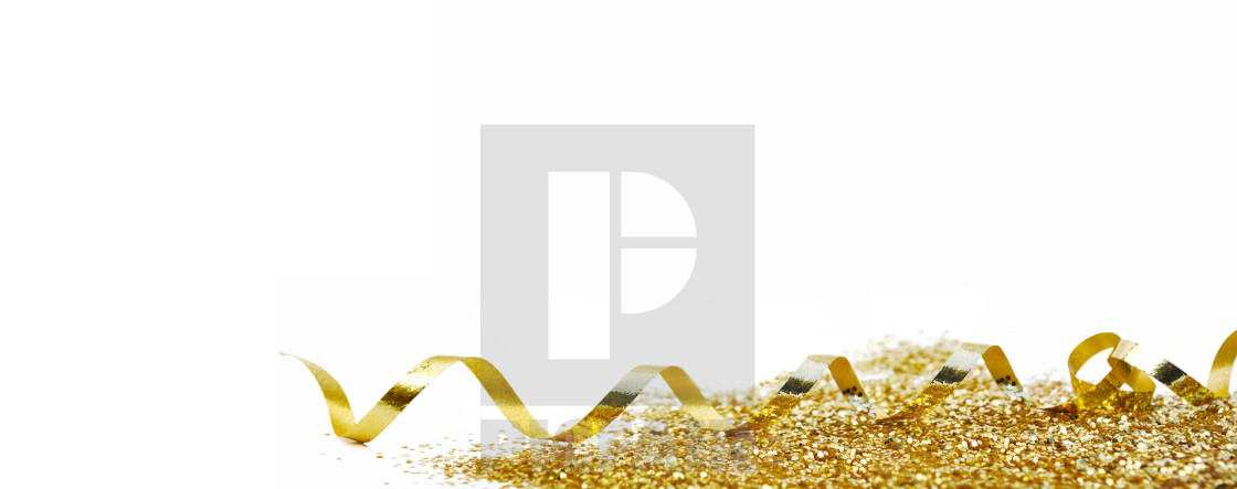 """""""ribbon curling and golden confetti on white background in panoramic view"""" stock image"""