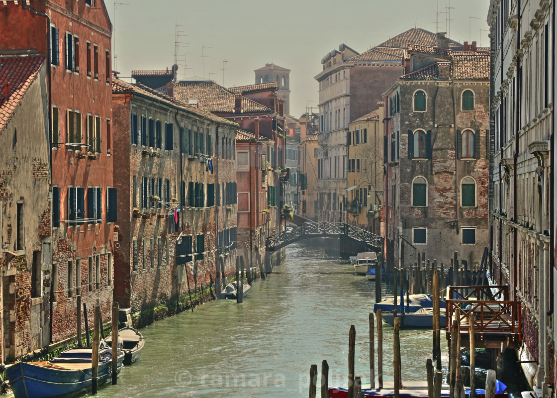 """""""Old houses along the canal in Venice"""" stock image"""