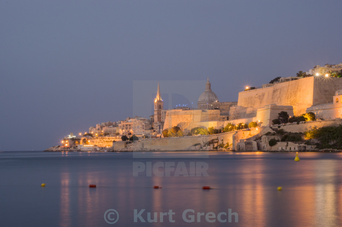 """Valletta at dawn"" stock image"