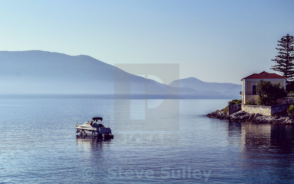 """Morning reflections in Kefalonia"" stock image"