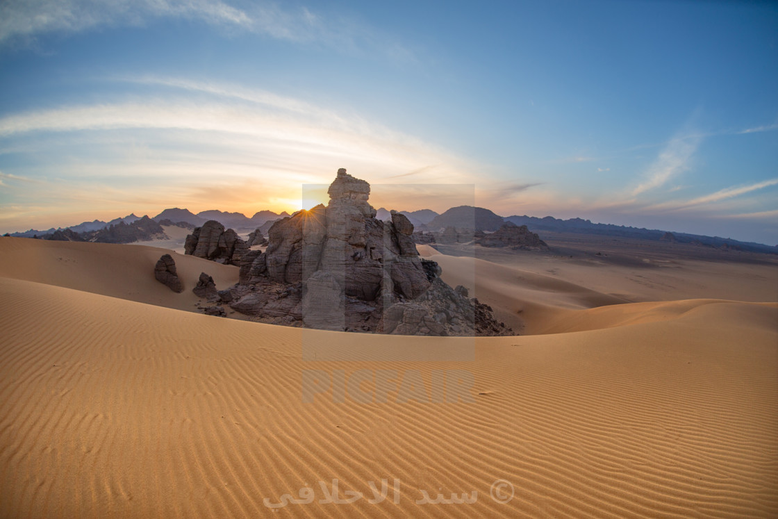 """Sunset in acacus"" stock image"