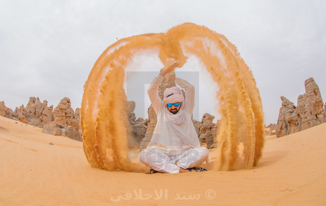 """have fun with sahara sand"" stock image"