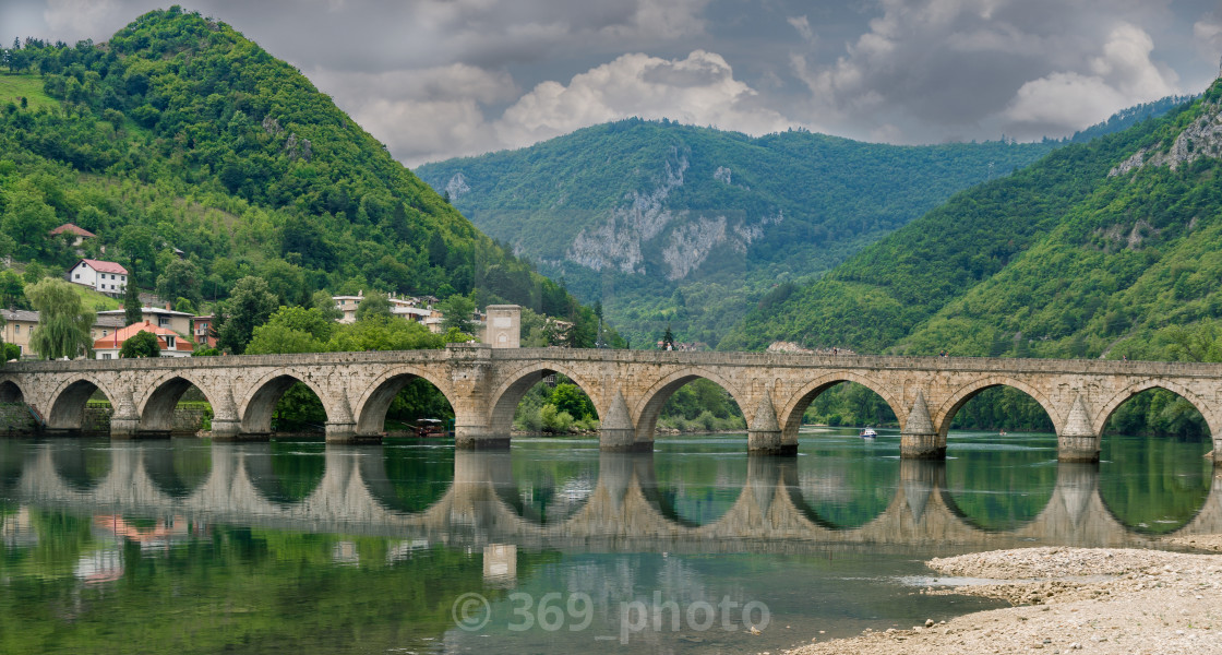 """The Ottoman Mehmed Pasa Sokolovic Bridge, Visegrad"" stock image"