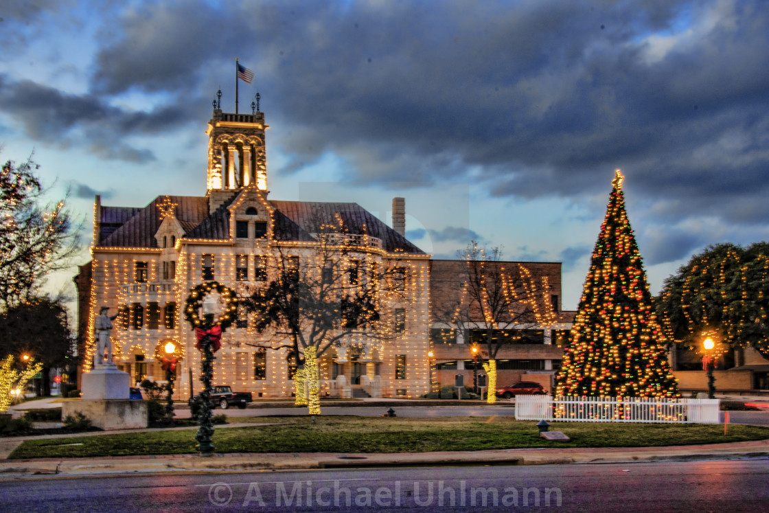 Christmas lights at the comal county courthouse in new braunfels texas stock image